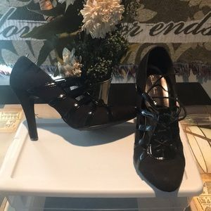 Charlotte Rouse Black Lace Up Witchy Poo Heels